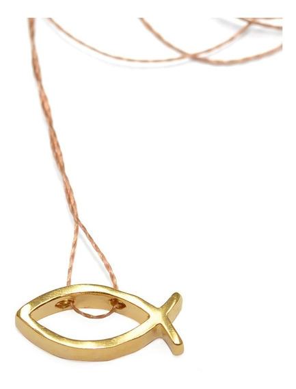 Colar Pingente Banhado Ouro Peixe Cristão Berkat Sku 20957