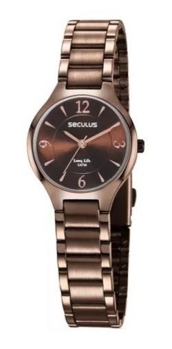 Kit Relógio Pulso Seculus Feminino Com Pulseira 77042lpsvma2