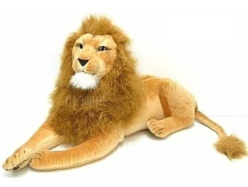 Leão Selva Safari Realista Deitado 70cm - Pelúcia Enfeite