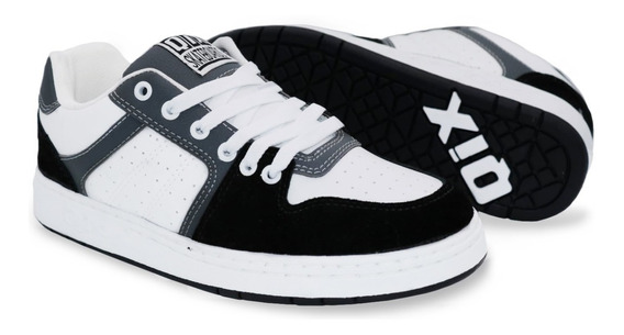 Tênis Qix Skate Retro 80s Preto Cinza Branco Original
