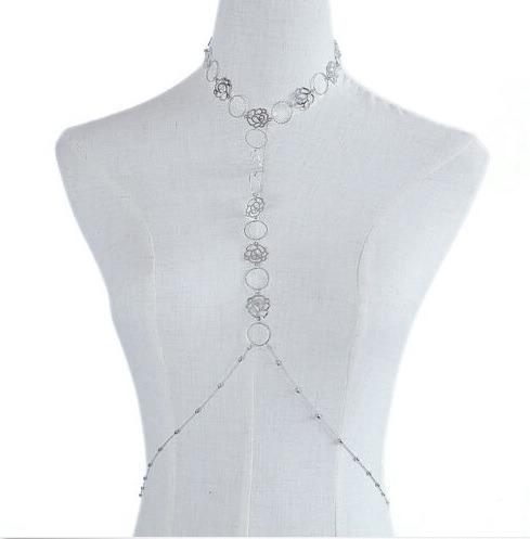 Colar Body Chain, Flores Discretas,moda Feminina,corpo, Flor