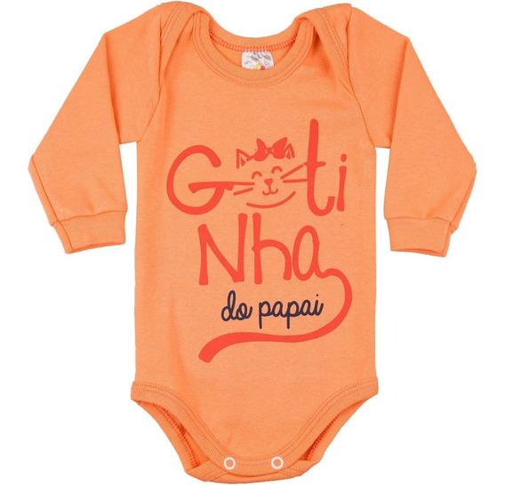 Roupa De Bebê Menina Body Manga Longa Gola Americana Ribana