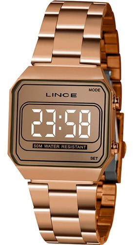 Imagem 1 de 8 de Relógio Lince Feminino Rose Quadrado Led Espelhado Mdr4644l