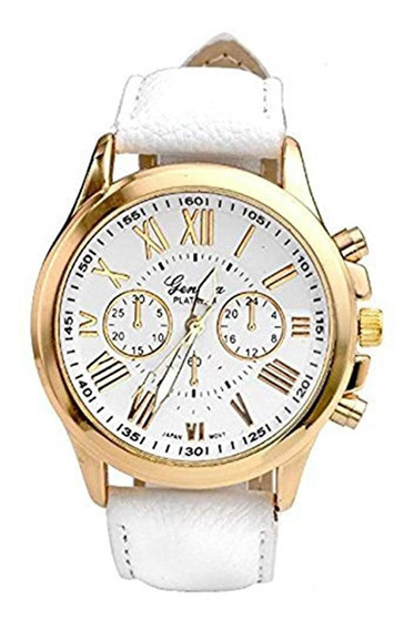 Relógio Feminino Dourado Geneva Algarismos Romanos Branco