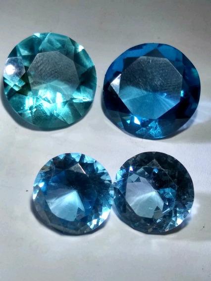 4 Circonias Azules Azul Cielo Y Azul Profundo
