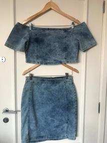 Conjunto Jeans De Saia E Cropped Tamanho 44