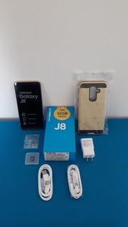 Celular Samsung Galaxy J8 Dorado + Vidrio Templado Y Estuche