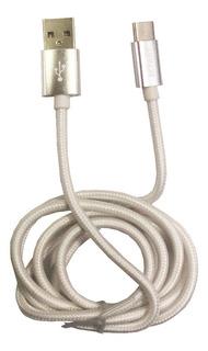 Cable Usb A Tipo C 1metro De 2 Amper Mallado, De Tela Resistente. Carga Rápida. Type C. Samsung, Huawei, Xiomi, Motorola