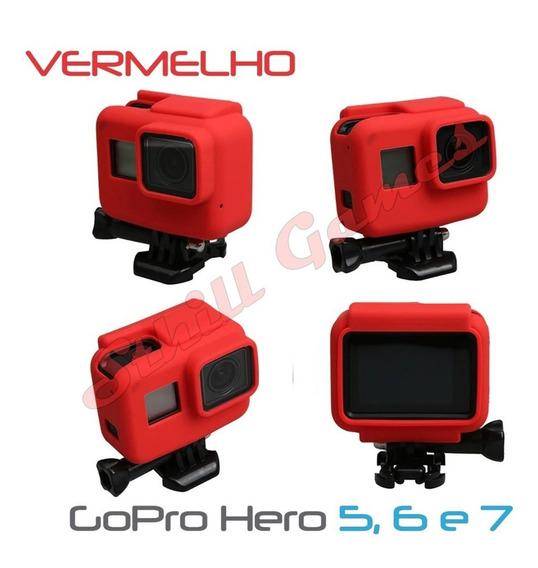 Capa Protetora Em Silicone Para Gopro Hero 5, 6 E 7 Vermelho