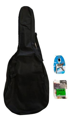 Imagen 1 de 6 de Funda Guitarra Mochila Criolla + Afinador Y Accesorios