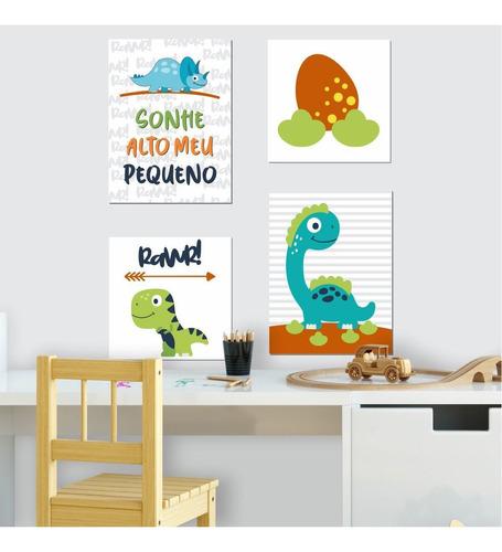 Kit Quadro Placa Decorativa Mdf Quarto Infantil Dino 4 Peças