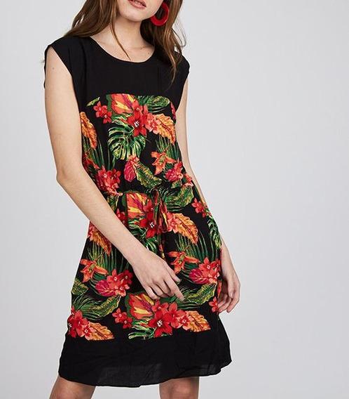 Vestido Negro Tropical Hojas Flores