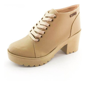 Bota Coturno Quality Shoes Feminina Nude