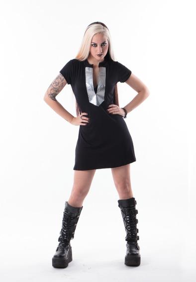 Vestido Escote Print Snake Plateado Y Negro Sonica
