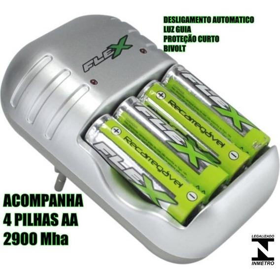 Carregador Pilhas Aa Flex + 4 Pilhas Recarregável Aa 2900mah - Sony Duracell Elgin Gp Philips