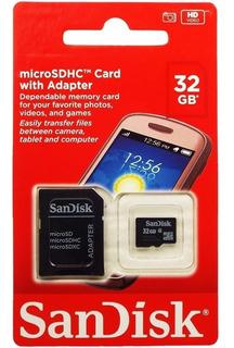 Cartão Memória Micro Sd 32gb Sandisk Lacrado Com Adaptador