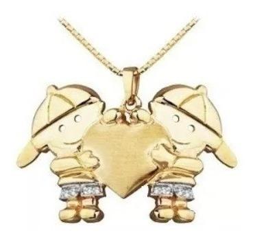 Pingente De Ouro 2 Meninos De Ouro 18 Quilate E Diamantes