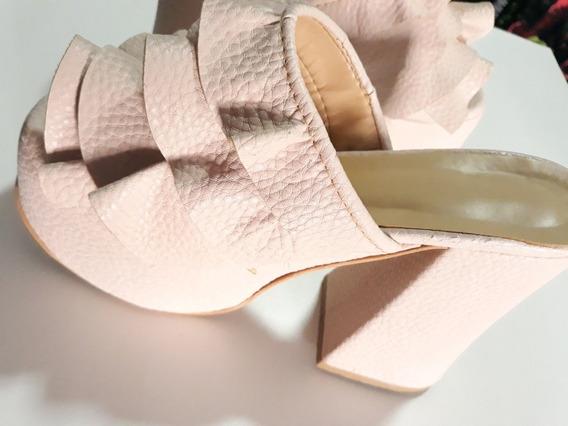 Zapatos Con Taco Rosas Claro Con Volados