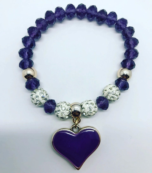 Pulsera Para Dama Ayconskull Corazón Morado