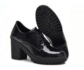 Sapato Bota Oxford Curto Salto Grosso Tratorado Varias Cor