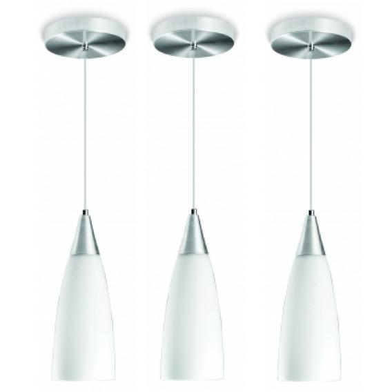 3 Luminária Pendente Premium Cone Vidro Alumínio Blumenau