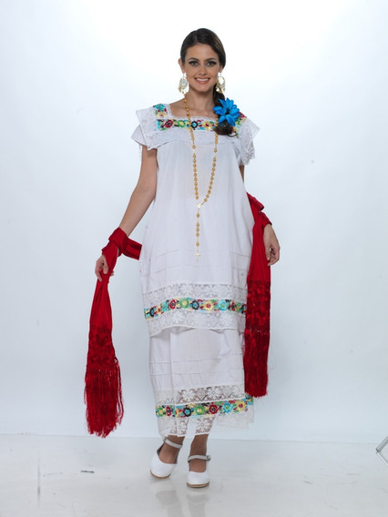 Traje Típico Yucatán, Vestido Yucateca Niña. Popelina