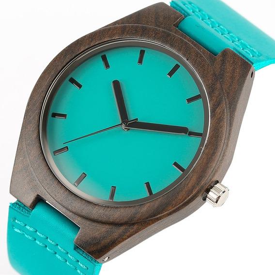 Relógio De Madeira De Bambu Correia Azul Muito Lindo