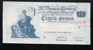 Billete 5 Pesos Moneda Nacional Progreso Bottero 1861