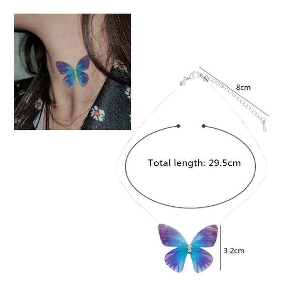Collar Transparente Mariposa 3d Regalo Novia Dije Hadas