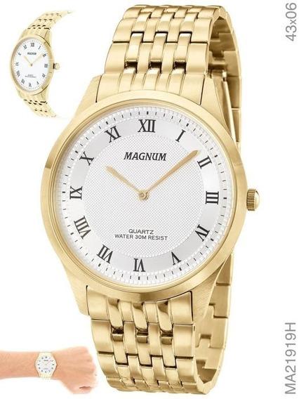 Relógio Masculino Magnum Slim Dourado Ma21919h