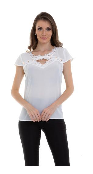Blusa Crepe Detalhe Ilhós E Renda Branco Kinara