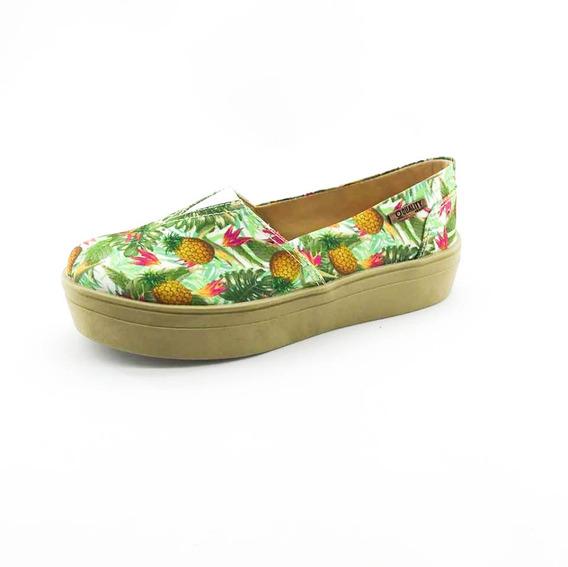 Tênis Flatform Quality Shoes Feminino 003 Abacaxi Verde Sola