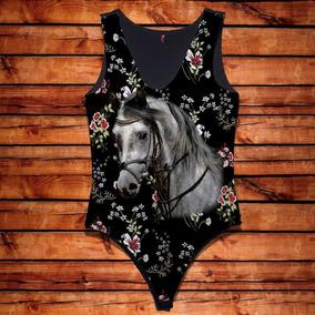Body Feminino Rosto Cavalo Branco Florido Country Promoção