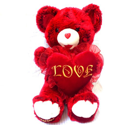 Urso Pelúcia Love Vermelho Grande 54 X 30 Cm B6060