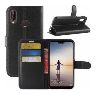 Funda Huawei P20 Lite Eco Cuero Flip Tarjetero + Vidrio