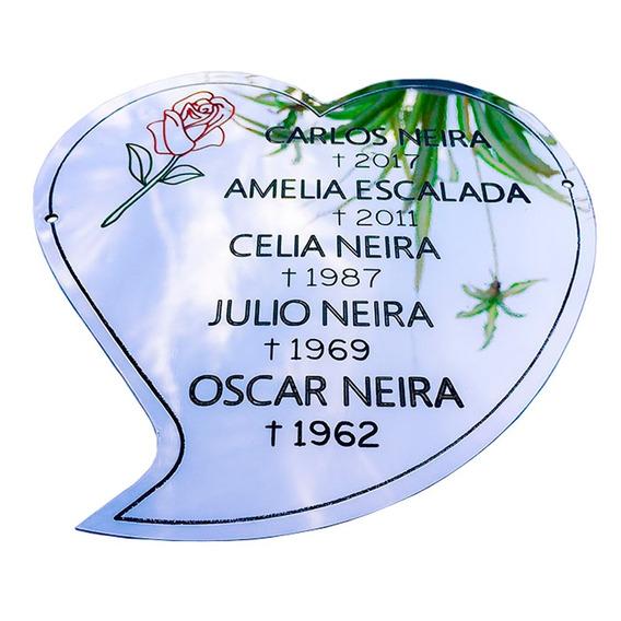 Placa Recordatoria Para Cementerio, Forma De Corazon.20x20cm