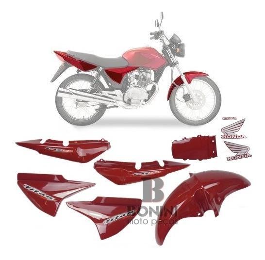 Kit Carenagem Cg 150 Titan 2006 Es 06 Vermelha Com Adesivo