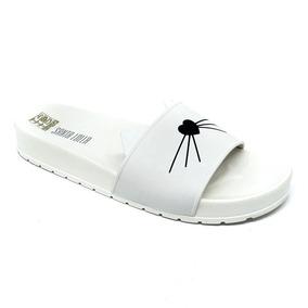 Santa Lolla Chinelo Slide Gato Borracha 12x S/ Juros Branco