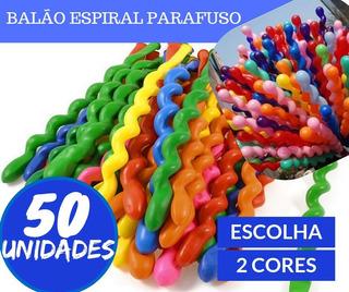 Balão Espiral Bexiga Parafuso Festa Curvo 50un Escolha Cor