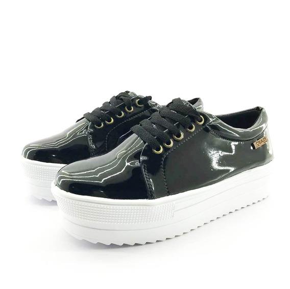 Tênis Flatform Quality Shoes 007 Verniz Preto Sola Alta Com