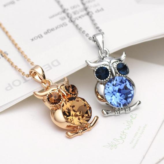 Colar Com Pingente Coruja Feminino Prata Com Pedra Azul