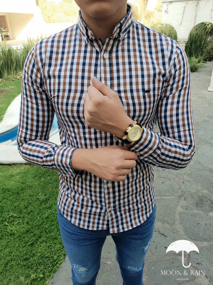 Camisa Slim Fit Cuadros Café, Negra, Blanca Moon & Rain