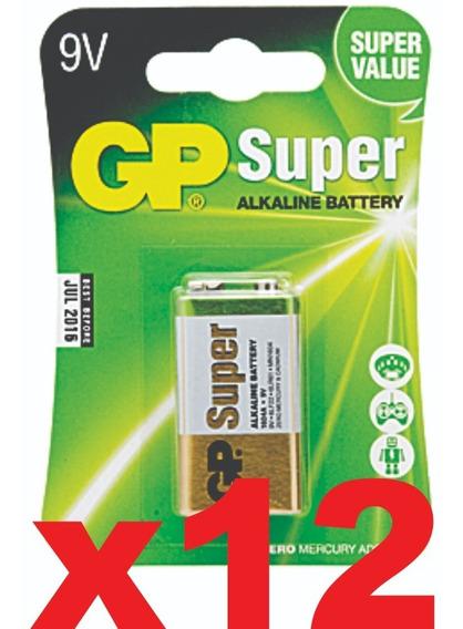 Caixa 12 Bateria 9v Pilha Alcalina Cartela Com 1 Unidade Gp