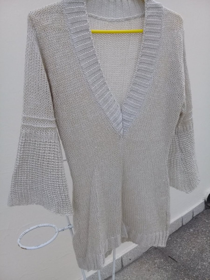Sweater Verano Escote V, Manga Campana, Algodón Y Lamé