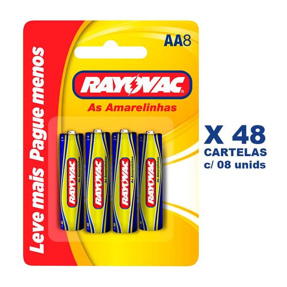 Pilha Zinco Rayovac Aa8 48 Cartelas Com 8und
