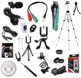 Kit Youtuber 12x1 Tripé 1,80m + Lapela Celular Flash Lentes