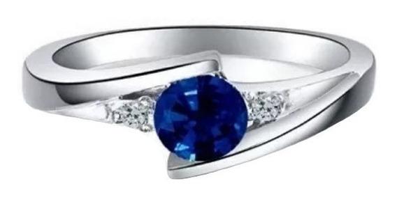 Anillo De Compromiso Diamantes Naturales Y Zafiro En 14k Mtx