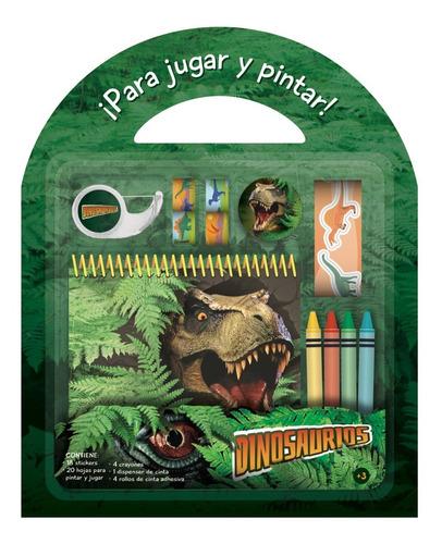Libro Colorear Valijita Set Para Jugar Y Pintar Dinosaurio