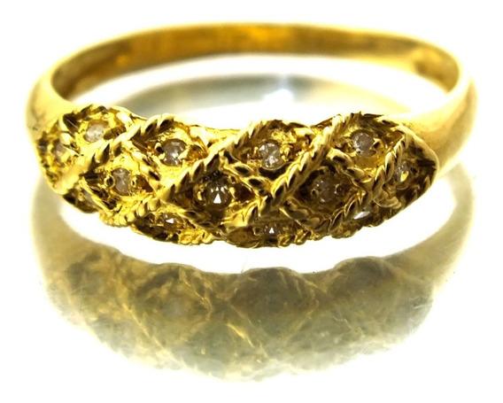 Aparador Meia Aliança Ouro 18k 13pts Diamante Aro 18 J16576