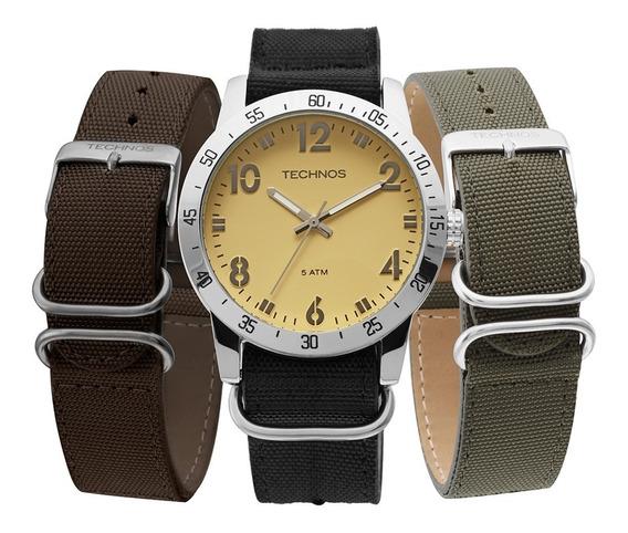 Relógio Technos Masculino Militar Troca Pulseiras 2035lwt/0b